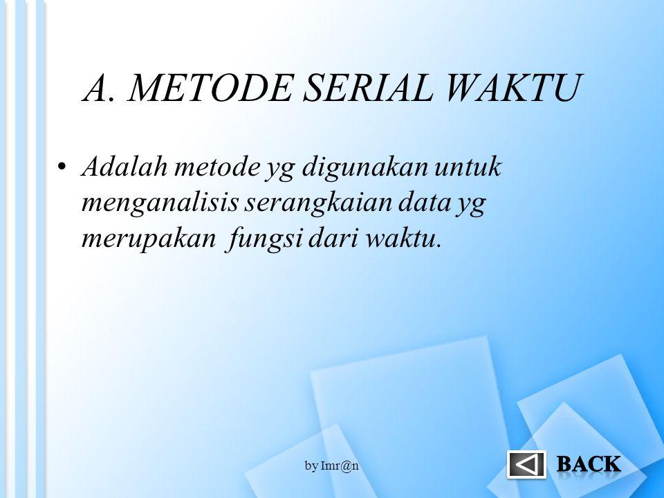 A. METODE SERIAL WAKTU Adalah metode yg digunakan untuk menganalisis serangkaian data yg merupakan fungsi dari waktu.
