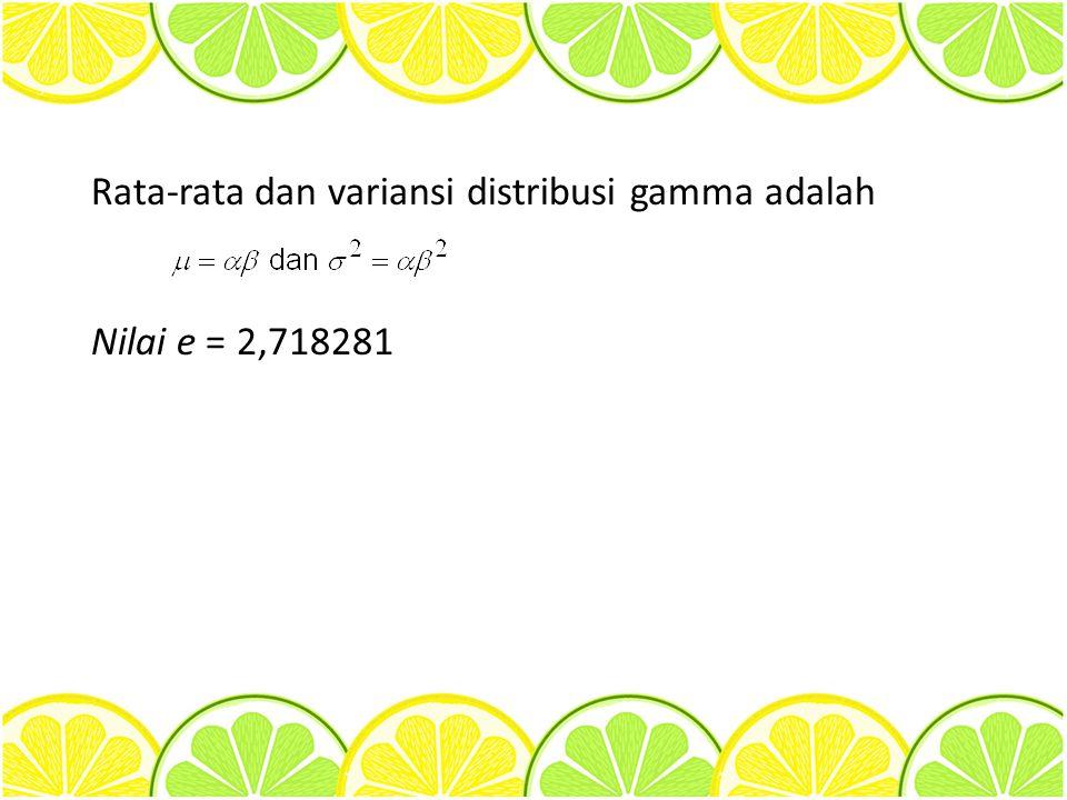 Rata-rata dan variansi distribusi gamma adalah