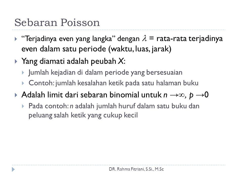 Sebaran Poisson Yang diamati adalah peubah X: