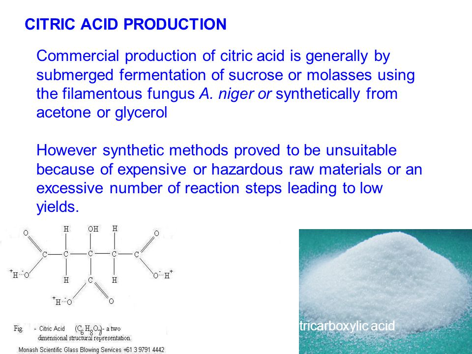 C6H8O7 CITRIC ACID PRODUCTION