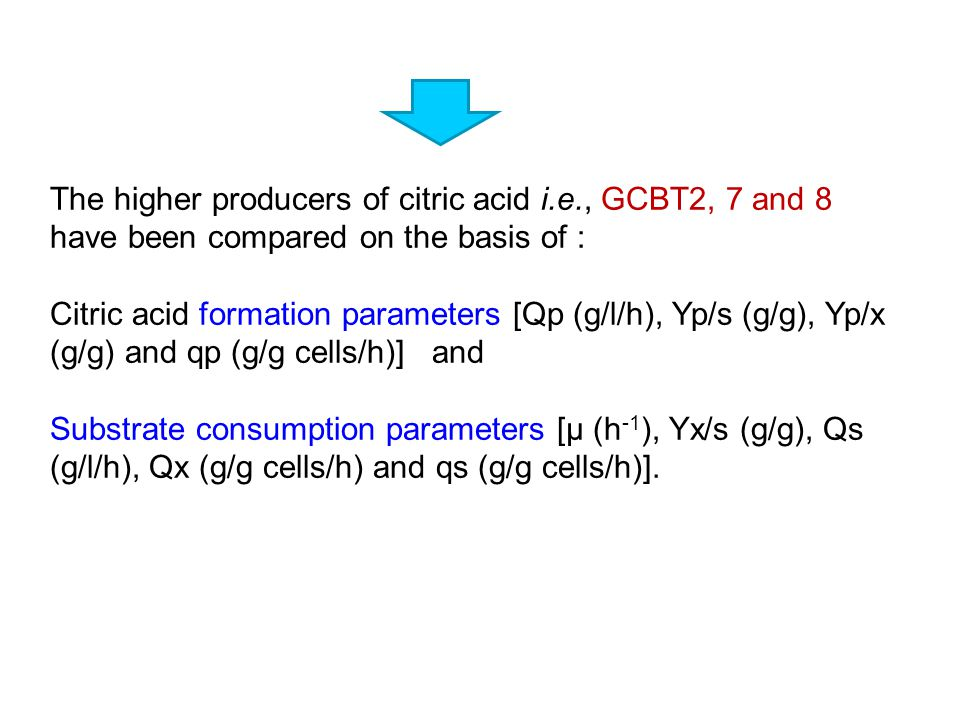 The higher producers of citric acid i. e
