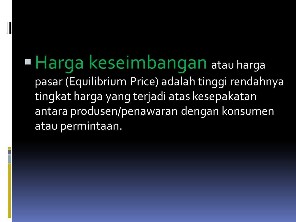 Harga keseimbangan atau harga pasar (Equilibrium Price) adalah tinggi rendahnya tingkat harga yang terjadi atas kesepakatan antara produsen/penawaran dengan konsumen atau permintaan.