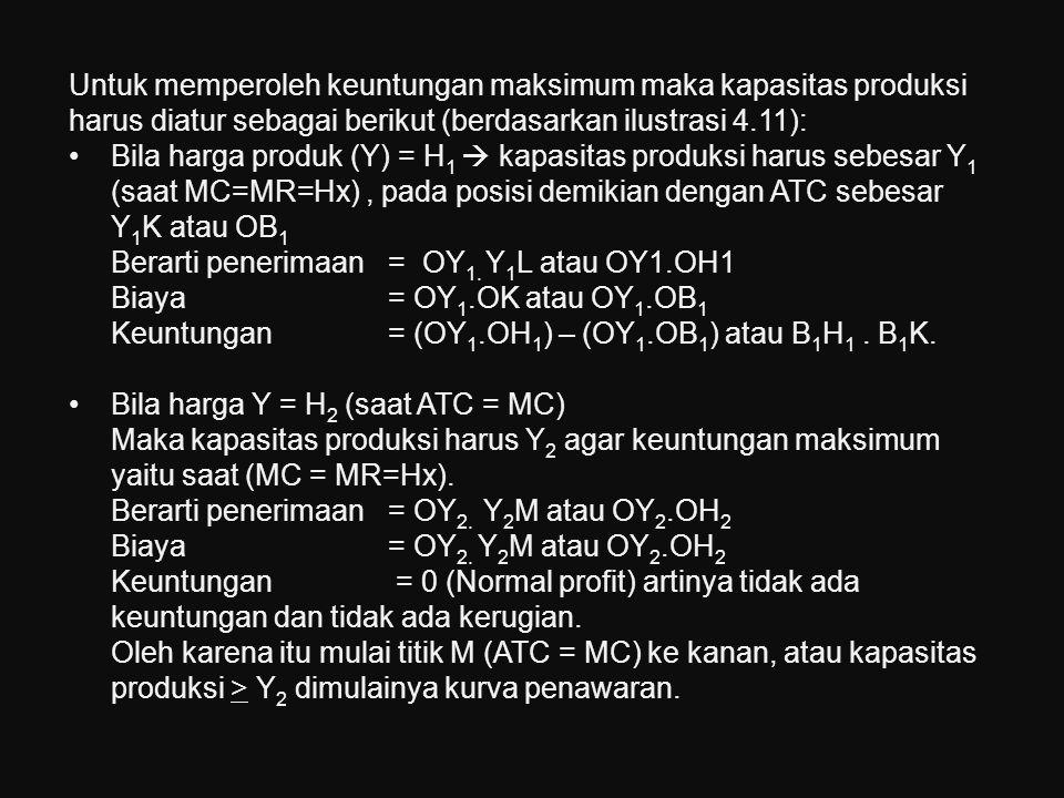 Untuk memperoleh keuntungan maksimum maka kapasitas produksi harus diatur sebagai berikut (berdasarkan ilustrasi 4.11):