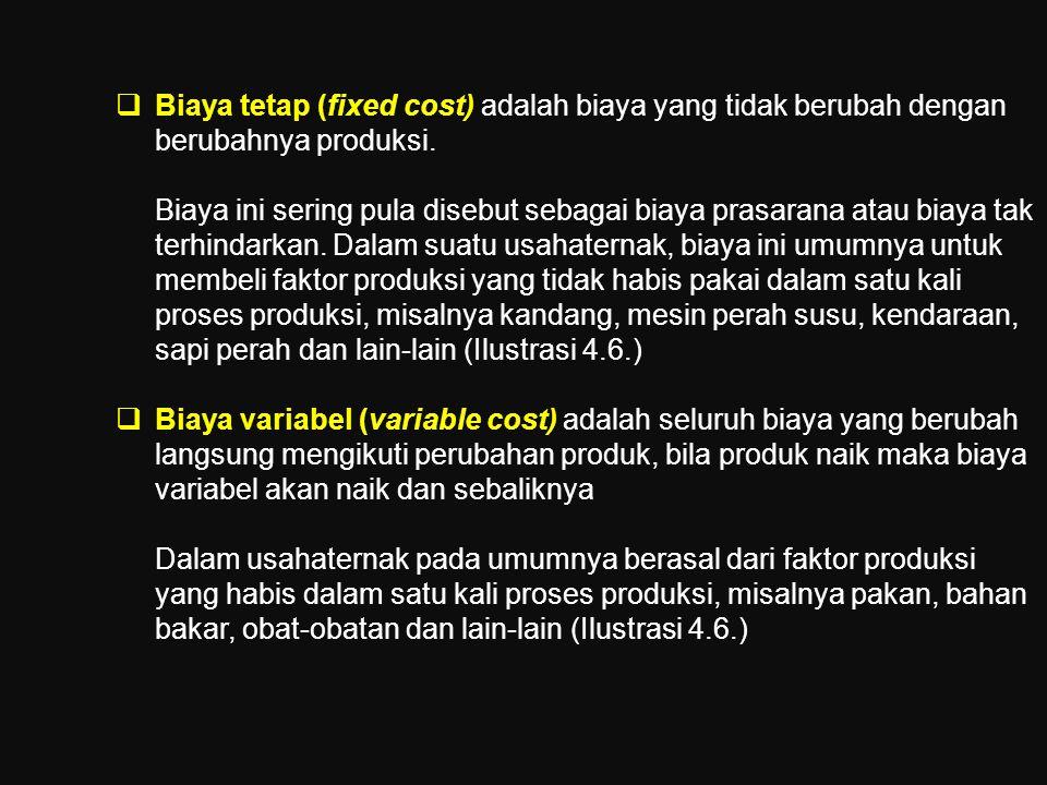 Biaya tetap (fixed cost) adalah biaya yang tidak berubah dengan berubahnya produksi.
