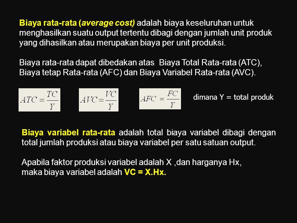 Apabila faktor produksi variabel adalah X ,dan harganya Hx,