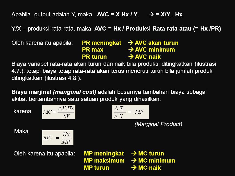 Apabila output adalah Y, maka AVC = X.Hx / Y.  = X/Y . Hx