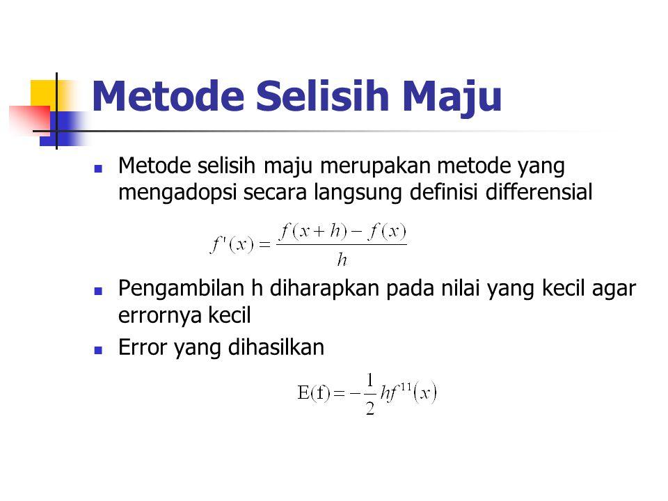 Metode Selisih Maju Metode selisih maju merupakan metode yang mengadopsi secara langsung definisi differensial.
