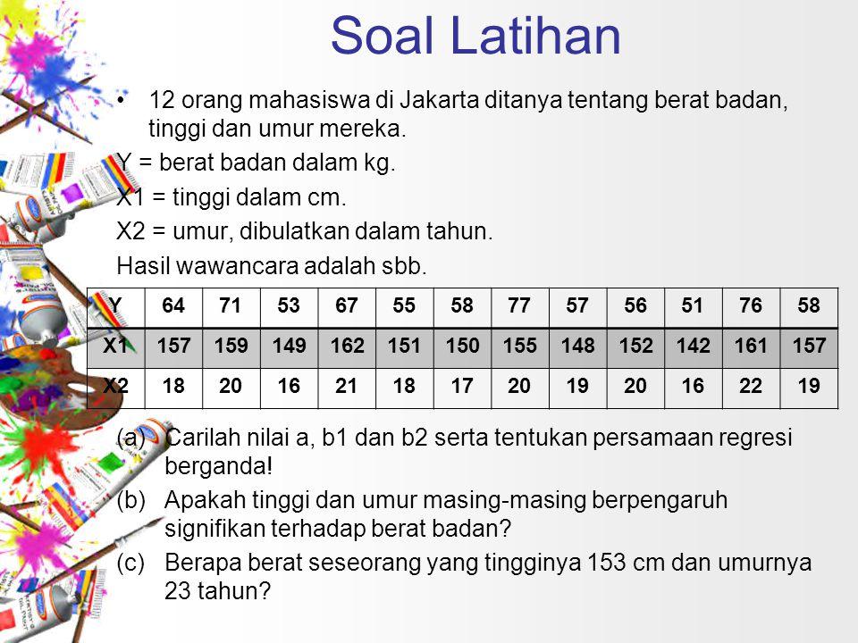 Soal Latihan 12 orang mahasiswa di Jakarta ditanya tentang berat badan, tinggi dan umur mereka. Y = berat badan dalam kg.