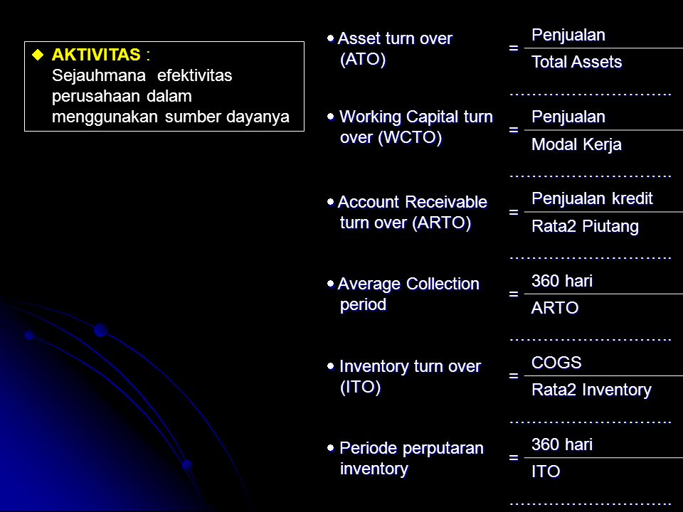  Asset turn over (ATO) = Penjualan. Total Assets. ………………………..  Working Capital turn over (WCTO)