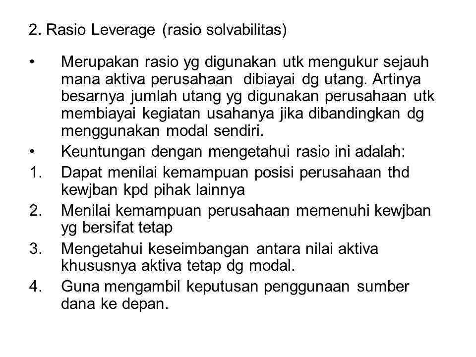 2. Rasio Leverage (rasio solvabilitas)