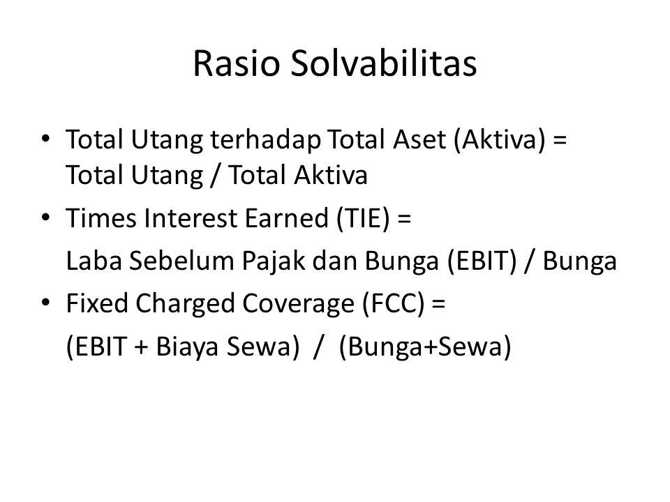 Rasio Solvabilitas Total Utang terhadap Total Aset (Aktiva) = Total Utang / Total Aktiva. Times Interest Earned (TIE) =