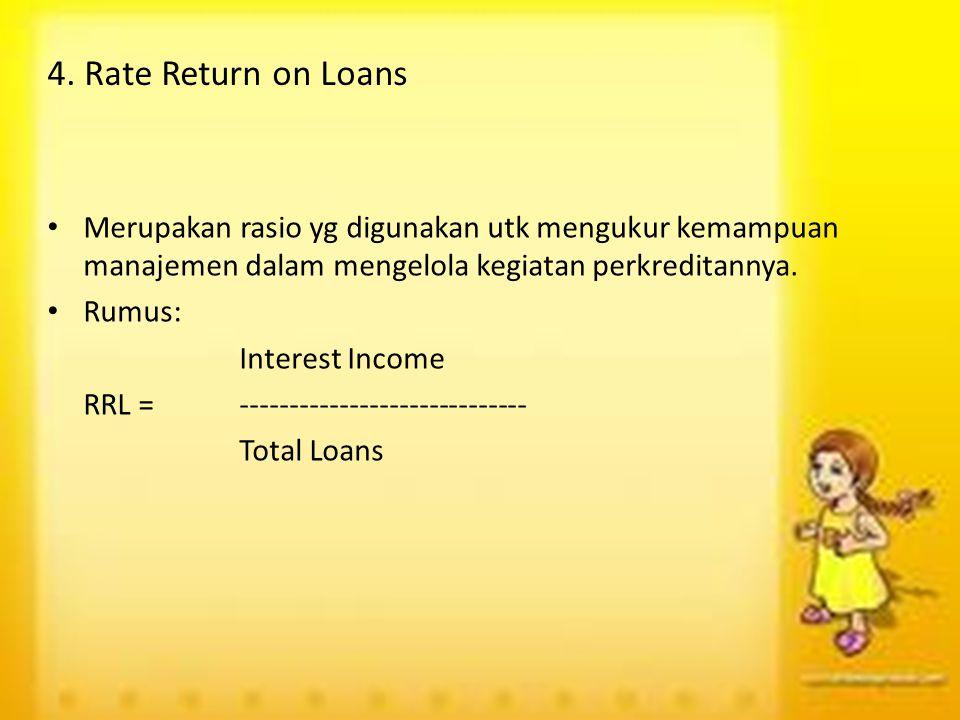 4. Rate Return on Loans Merupakan rasio yg digunakan utk mengukur kemampuan manajemen dalam mengelola kegiatan perkreditannya.