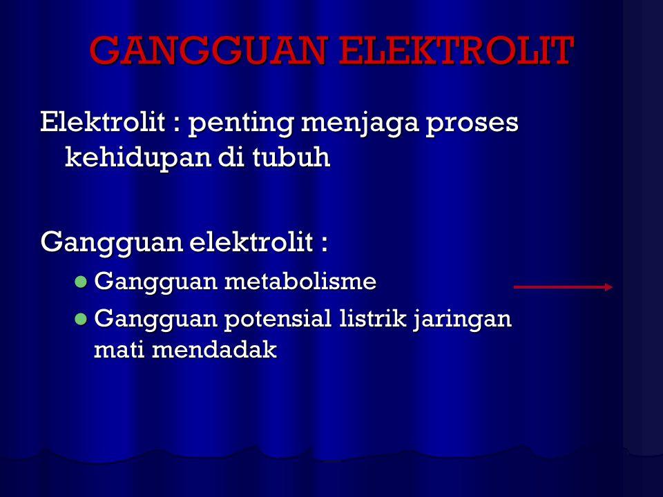 GANGGUAN ELEKTROLIT Elektrolit : penting menjaga proses kehidupan di tubuh. Gangguan elektrolit : Gangguan metabolisme.