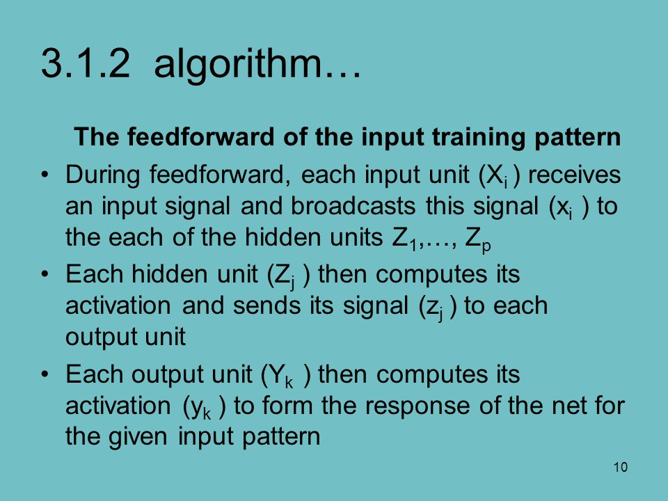 3.1.2 algorithm… The feedforward of the input training pattern