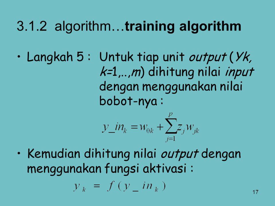 3.1.2 algorithm…training algorithm