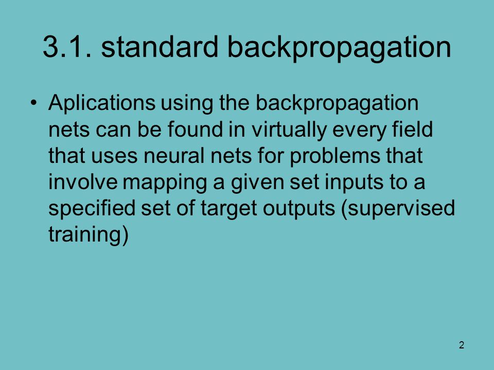 3.1. standard backpropagation