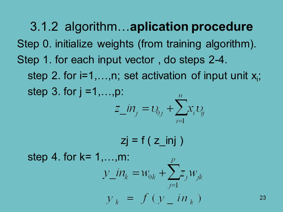 3.1.2 algorithm…aplication procedure