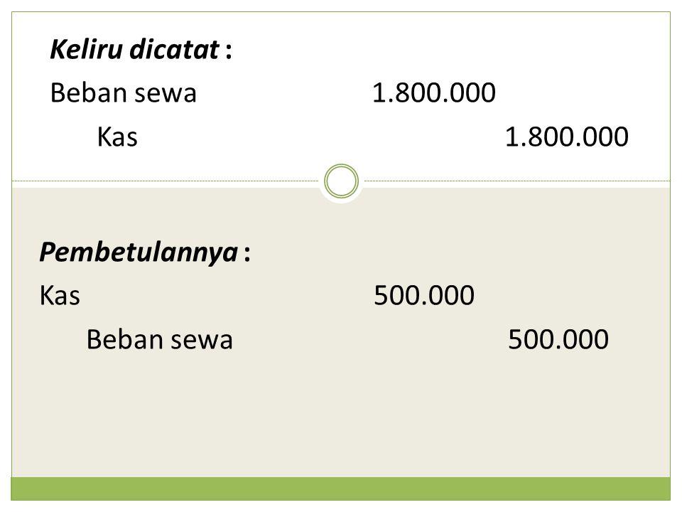 Keliru dicatat : Beban sewa 1.800.000 Kas 1.800.000 Pembetulannya : Kas 500.000 Beban sewa 500.000