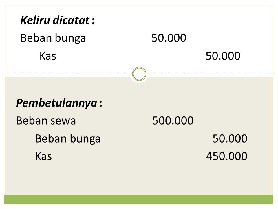 Keliru dicatat : Beban bunga 50.000. Kas 50.000. Pembetulannya : Beban sewa 500.000. Beban bunga 50.000.