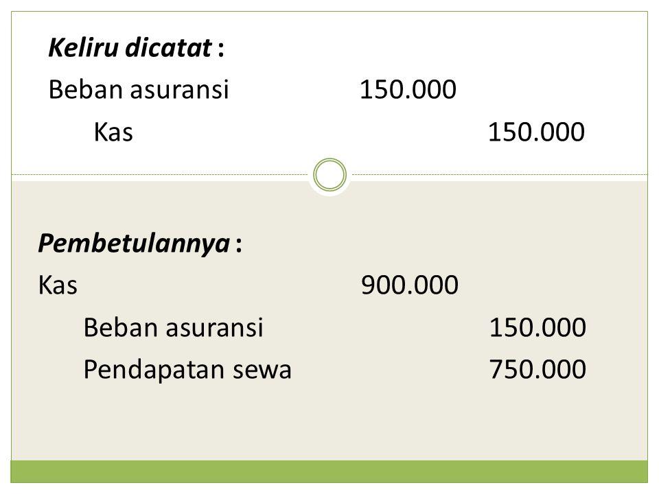 Keliru dicatat : Beban asuransi 150.000. Kas 150.000. Pembetulannya : Kas 900.000. Beban asuransi 150.000.