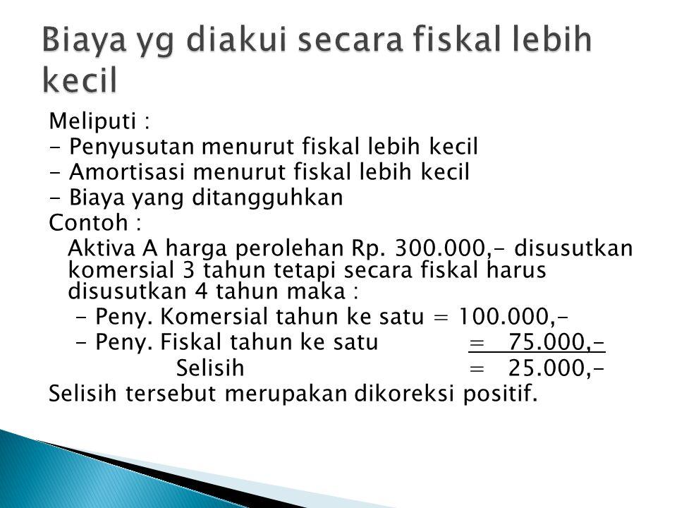 Biaya yg diakui secara fiskal lebih kecil