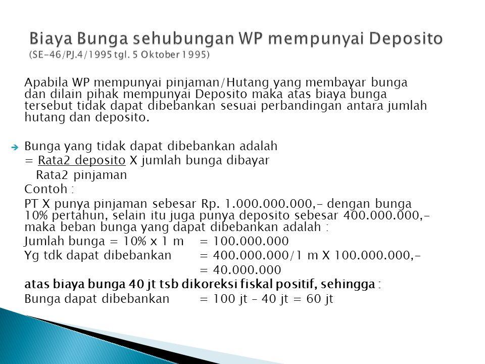 Biaya Bunga sehubungan WP mempunyai Deposito (SE-46/PJ. 4/1995 tgl