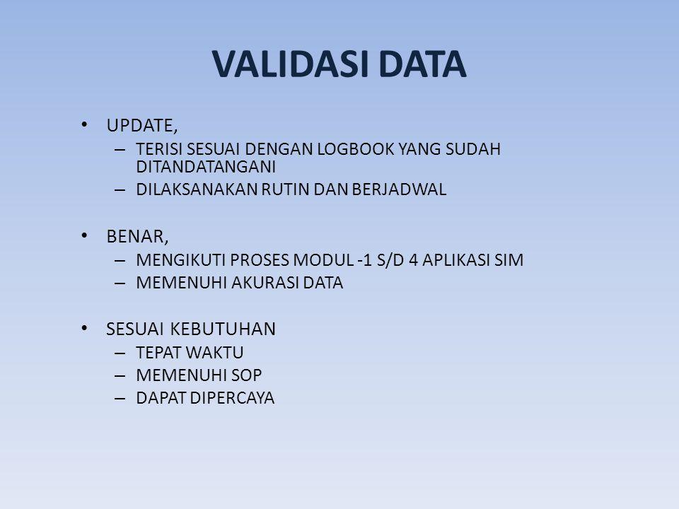 VALIDASI DATA UPDATE, BENAR, SESUAI KEBUTUHAN