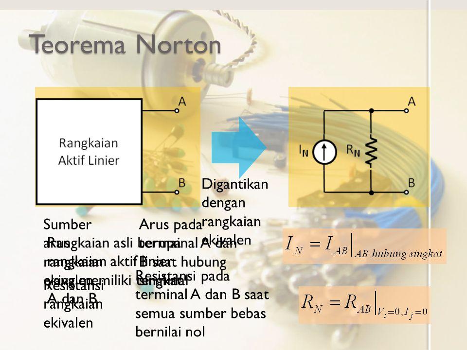 Teorema Norton Digantikan dengan rangkaian ekivalen