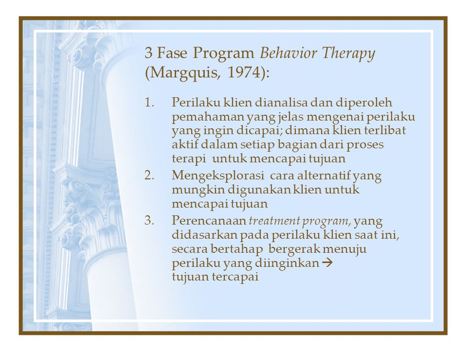 3 Fase Program Behavior Therapy (Margquis, 1974):