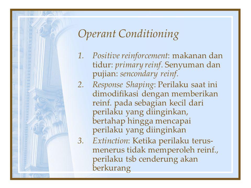 Operant Conditioning Positive reinforcement: makanan dan tidur: primary reinf. Senyuman dan pujian: sencondary reinf.