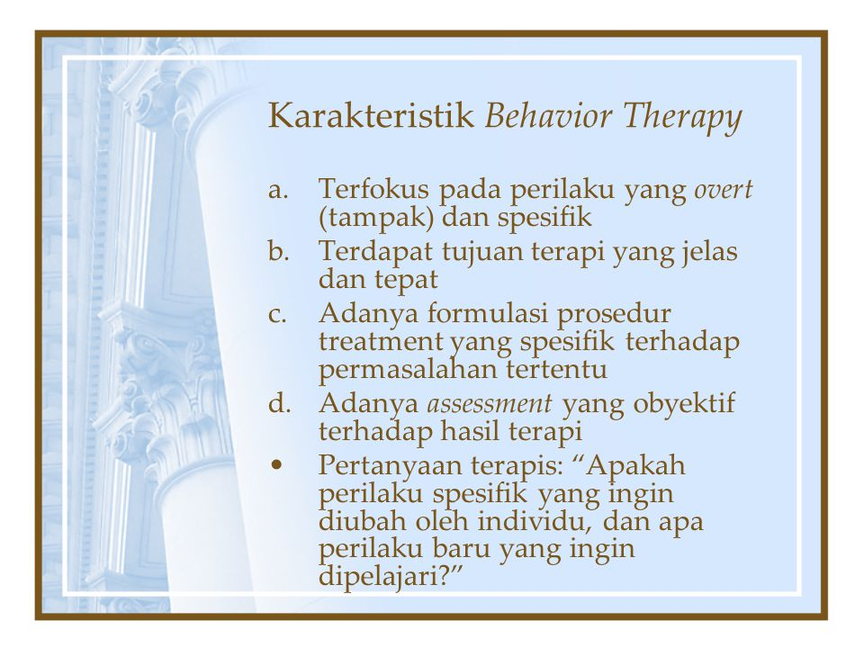 Karakteristik Behavior Therapy