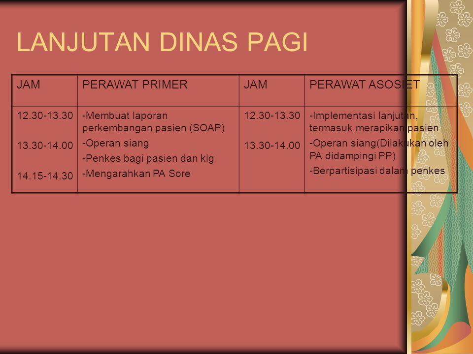 LANJUTAN DINAS PAGI JAM PERAWAT PRIMER PERAWAT ASOSIET 12.30-13.30