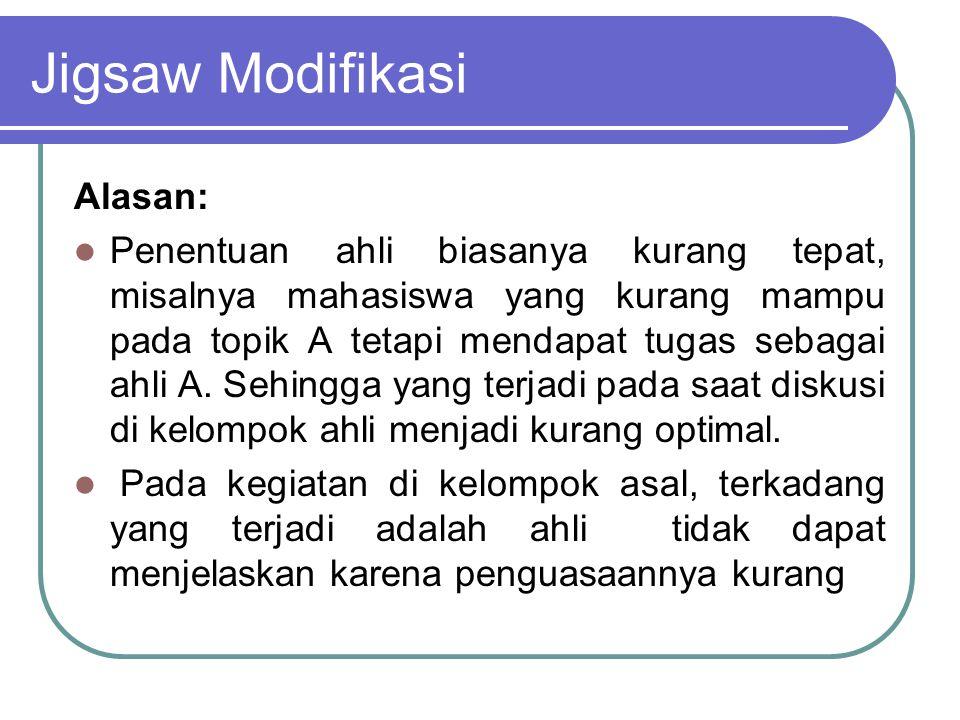 Jigsaw Modifikasi Alasan: