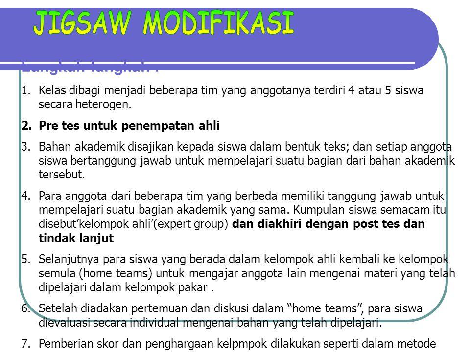 JIGSAW MODIFIKASI Langkah-langkah :