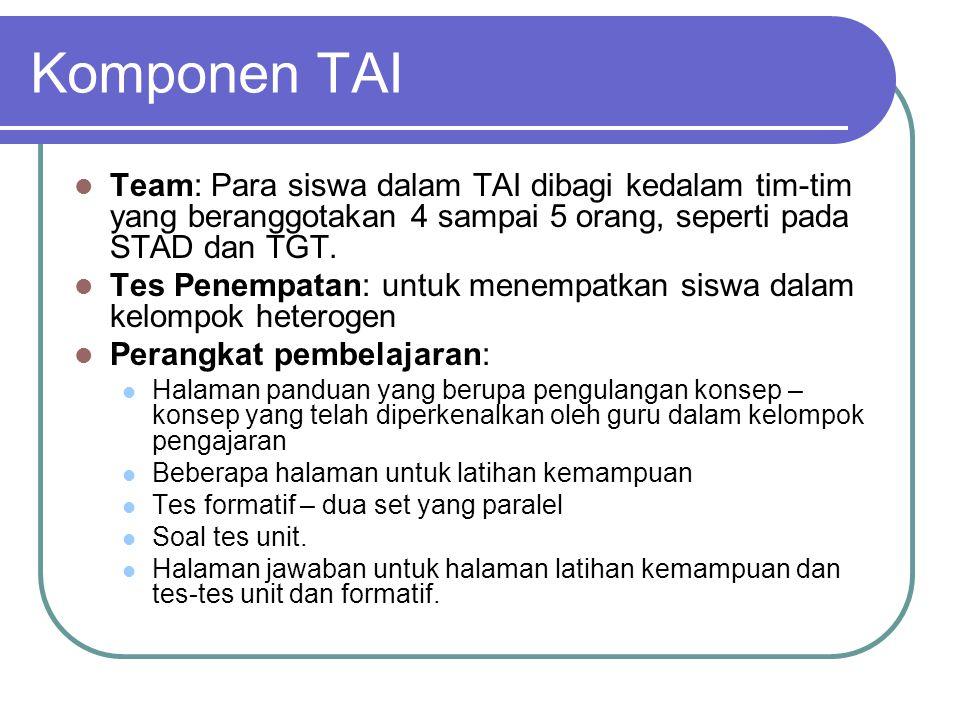 Komponen TAI Team: Para siswa dalam TAI dibagi kedalam tim-tim yang beranggotakan 4 sampai 5 orang, seperti pada STAD dan TGT.
