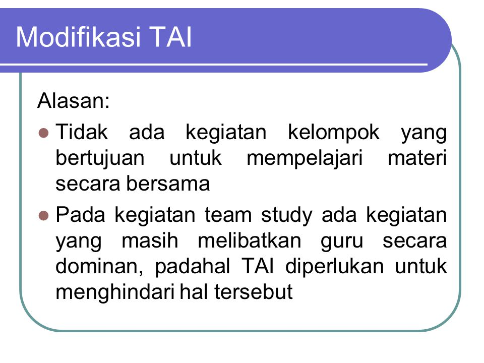 Modifikasi TAI Alasan: