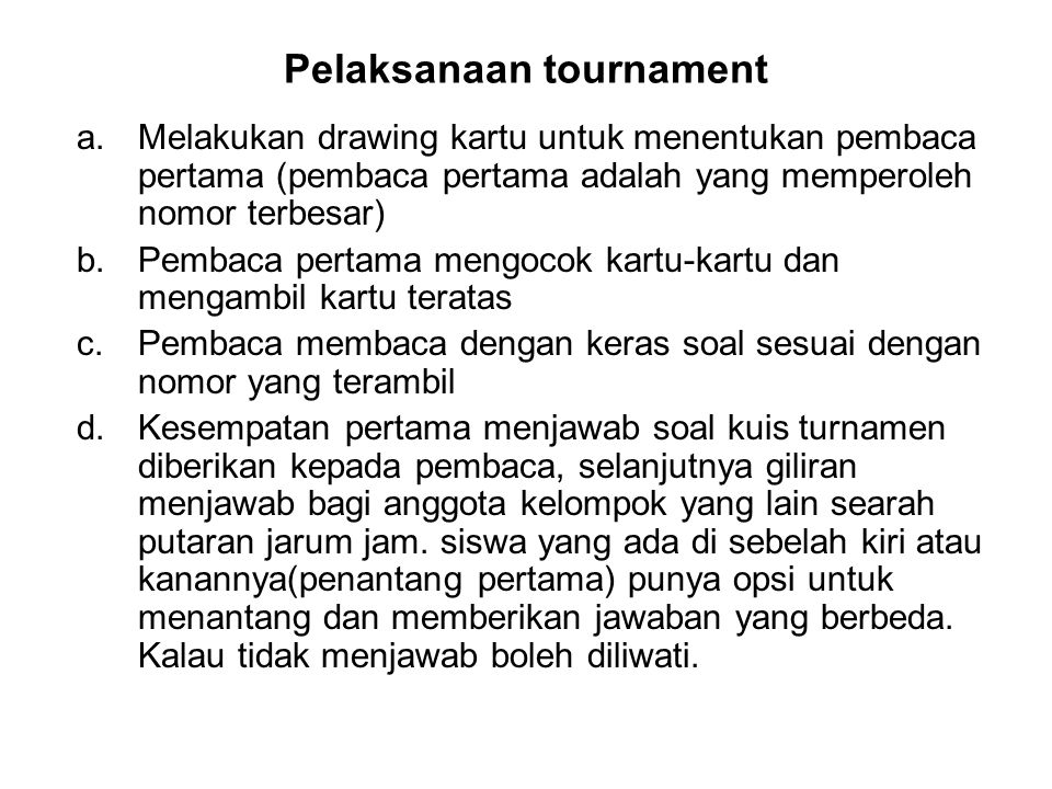 Pelaksanaan tournament