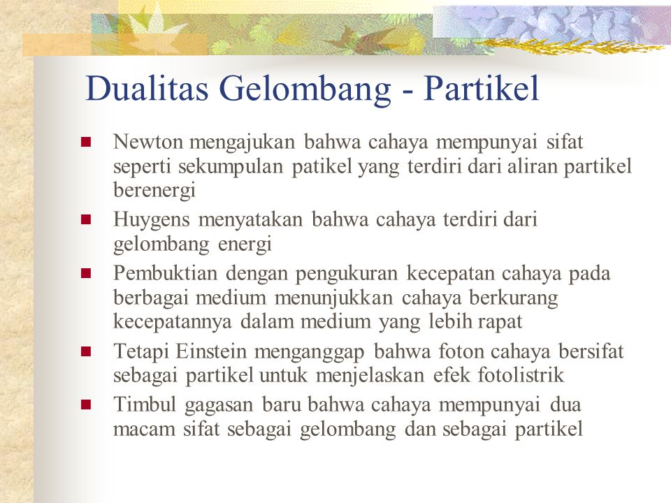 Dualitas Gelombang - Partikel