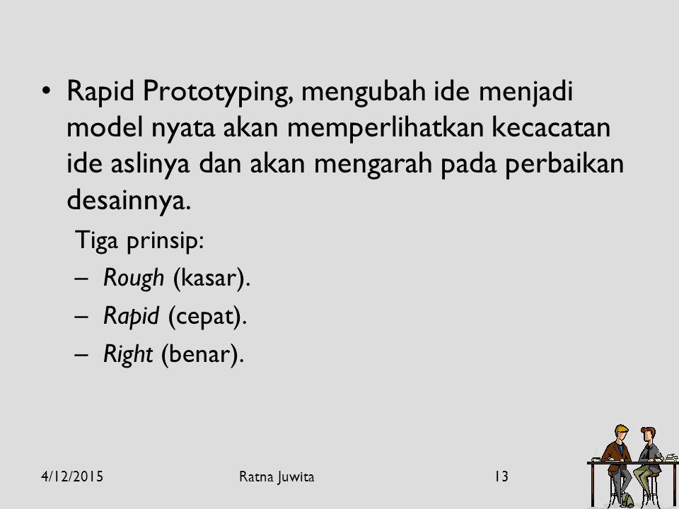 Rapid Prototyping, mengubah ide menjadi model nyata akan memperlihatkan kecacatan ide aslinya dan akan mengarah pada perbaikan desainnya.