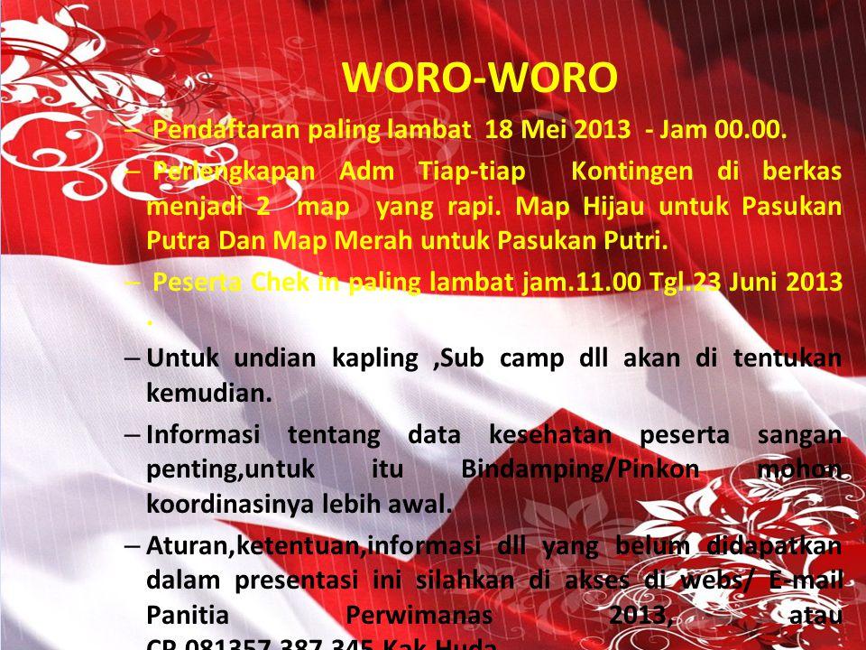 WORO-WORO Pendaftaran paling lambat 18 Mei 2013 - Jam 00.00.