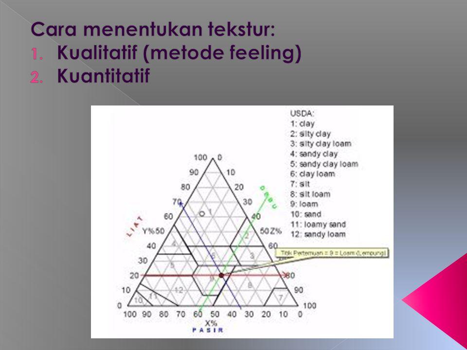 Cara menentukan tekstur: Kualitatif (metode feeling) Kuantitatif