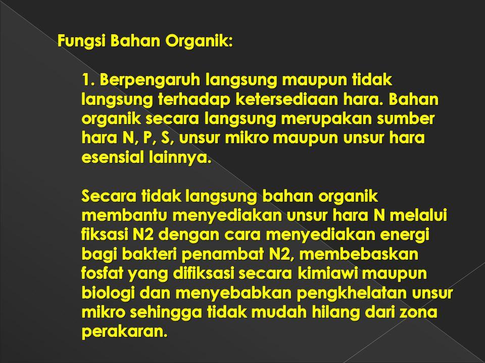 Fungsi Bahan Organik: 1. Berpengaruh langsung maupun tidak langsung terhadap ketersediaan hara.