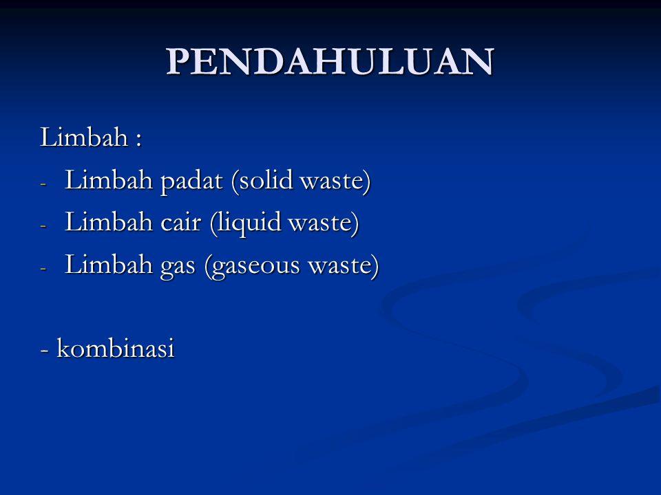 PENDAHULUAN Limbah : Limbah padat (solid waste)