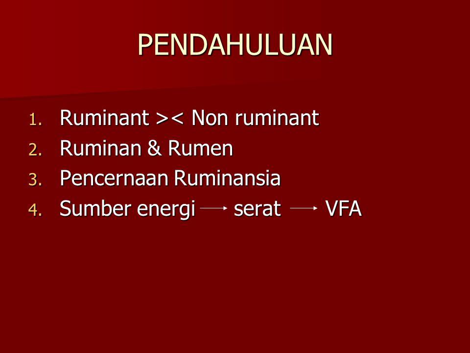 PENDAHULUAN Ruminant >< Non ruminant Ruminan & Rumen