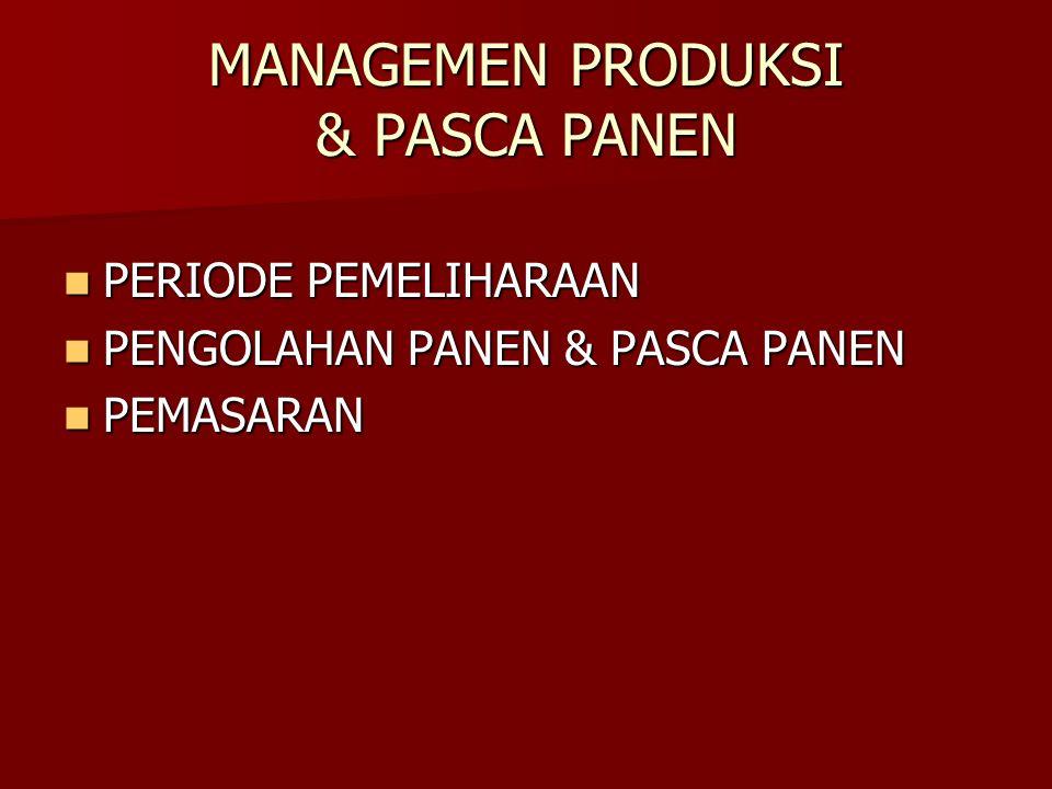 MANAGEMEN PRODUKSI & PASCA PANEN