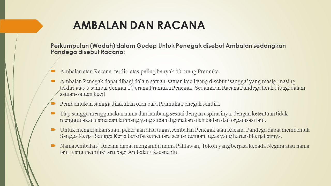 AMBALAN DAN RACANA Perkumpulan (Wadah) dalam Gudep Untuk Penegak disebut Ambalan sedangkan Pandega disebut Racana:
