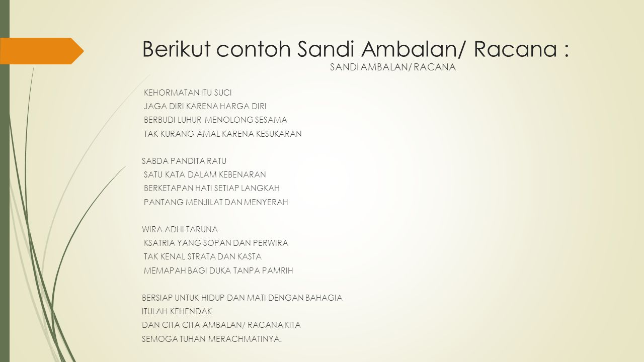 Berikut contoh Sandi Ambalan/ Racana :