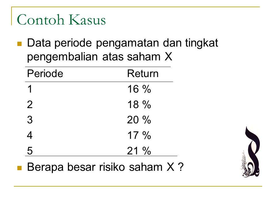 Contoh Kasus Data periode pengamatan dan tingkat pengembalian atas saham X. Periode Return. 1 16 %
