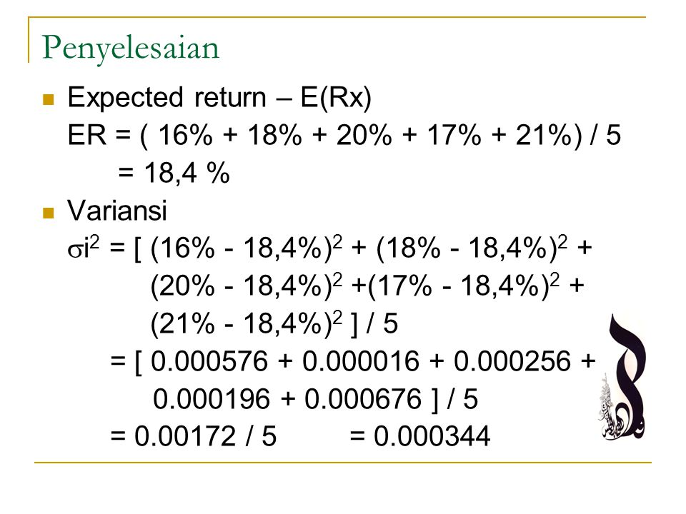 Penyelesaian Expected return – E(Rx)