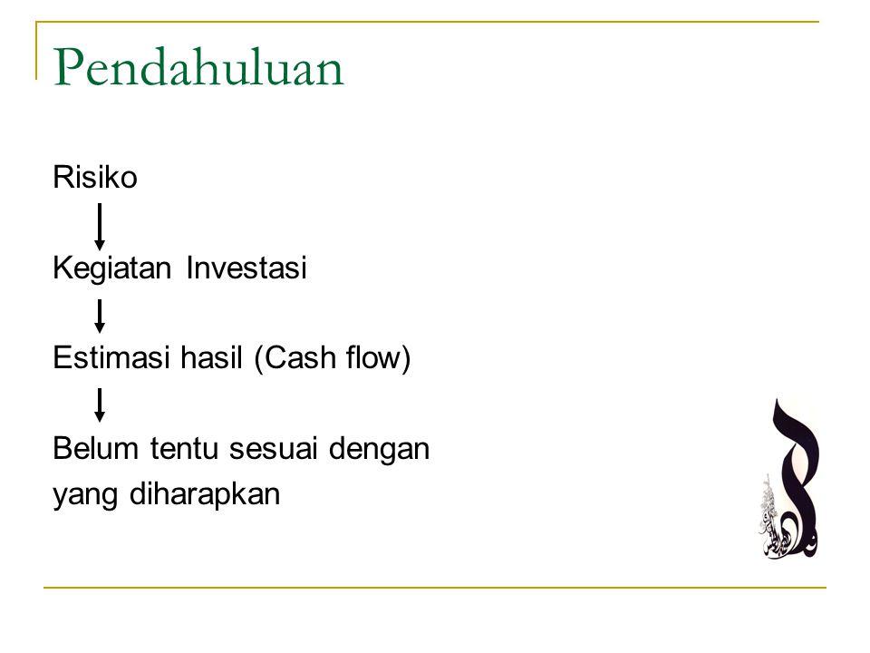 Pendahuluan Risiko Kegiatan Investasi Estimasi hasil (Cash flow)